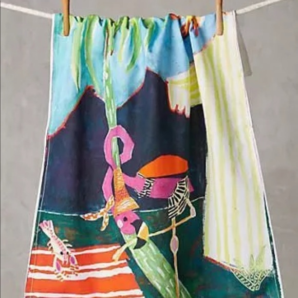 Anthropologie Other - Anthropologie Lolette Flamingo dish towel new 🏝🏝